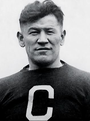 n this historical images of Jim Thorpe,the athlete sports a Canton Bulldogs uniform.