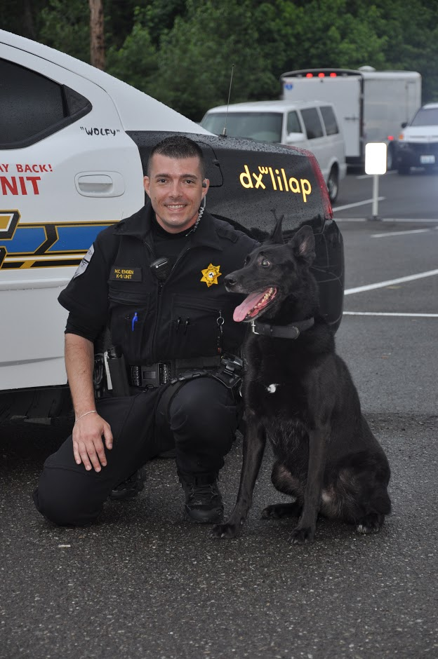 Tulalip Police Department K9 Officer Wolfy with her partner, Senior Officer M. Engen Photo/Brandi N. Montreuil