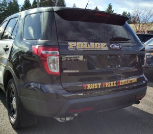 Tulalip Police Department new patrol vehicles will feature new graphics on the back with the department's slogan. (Tulalip News/ Brandi N. Montreuil)