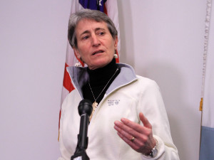 Interior Secretary Sally Jewell speaks in Anchorage, Alaska. The Obama administration is requiring companies that drill for oil and natural gas on federal lands to disclose chemicals used in hydraulic fracturing operations.Dan Joling, AP