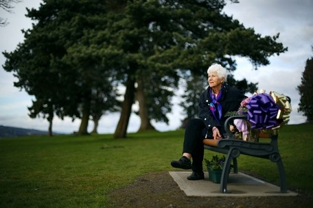 Mark Mulligan / The HeraldElaine Soriano worked with Everett Parks & Recreation to install a memorial bench for her granddaughter Gia Soriano at Legion Memorial Park in Everett.