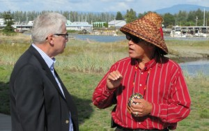File photo of EPA Region 10 Administrator Dennis McLerran (left) meeting with Swinomish Tribal Council Chairman Brian Cladoosby at the Swinomish Reservation. Cladoosby's tribe has filed a lawsuit to stop oil trains from traveling on its reservation.Ashley Ahearn