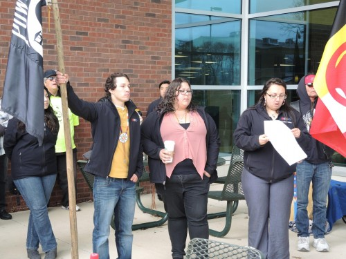 The Native American Student Organization at Eastern Michigan University held a rally Wednesday, April 22, in reaction to a report some students dressed in Native American garb and painted their faces red during an off-campus party. BEN BAIRD-WASHTENAW NOW