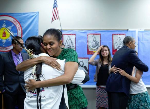 President Barack Obama and First Lady Michelle Obama met with youth from the Standing Rock Sioux Tribe in June 2014. Photo from Center for Native American Youth / Facebook