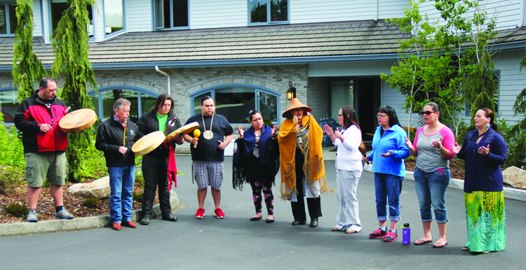 Tulalip drummers and singers bless the Healing Lodge with a traditional welcoming song at the grand opening on Friday, April 17. Photo Micheal Rios