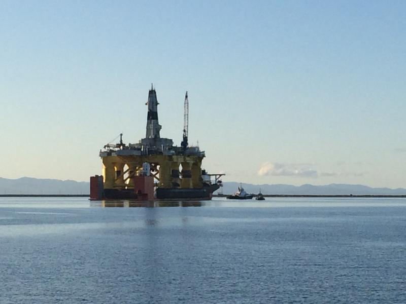 One of Royal Dutch Shell's massive oil rigs, off the coast of Port Angeles. The Port of Seattle signed a lease with the oil giant in February. Foss Maritime tugs would pilot the rigs through Puget Sound to ensure their safety.BELLAMY PAILTHORP KPLU