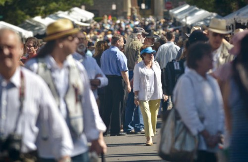 People crowd the streets surrounding the Plaza during last year's Santa Fe Indian Market. The market last year brought in an estimated 150,000 visitors, and had an $80 million economic impact on the city and state. (Marla Brose/Albuquerque Journal)