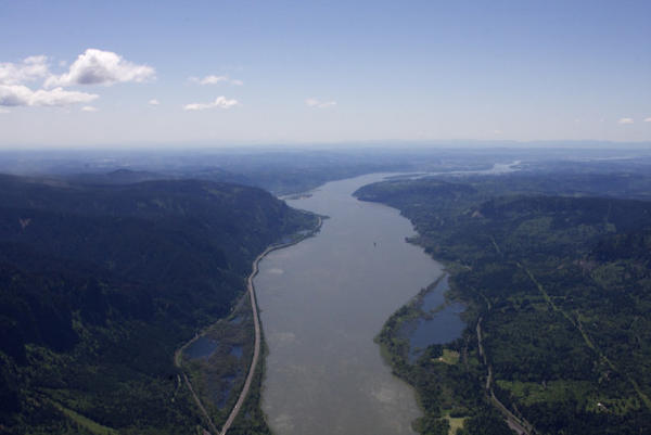An aerial view of the Columbia River.AMELIA TEMPLETON