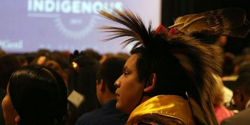 About half of more than a thousand youth at the White House Tribal Youth gathering wore traditional tribal clothing. More than 230 tribes from across the country were represented. (Cronkite News Photo/Aubrey Rumore)