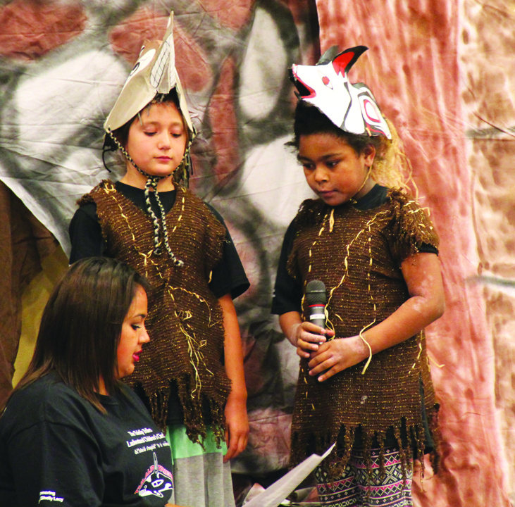 Celum Hatch reviews lines of 'Coyote and Rock' with costumed performers. Photo/Micheal Rios