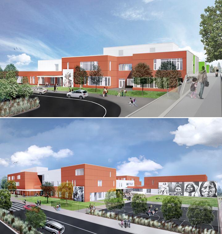 Top: an architect's rendering of the new Cascadia Elementary School. Bottom: the new Robert Eagle Staff Middle School. (Mahlum Architects)