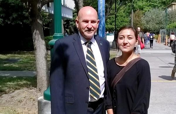 Courtesy Cindy La MarrNative American Student Chiitaanibah Johnson (Navajo / Naakaí' Diné and Konkow Maidu) recently met with her University President Robert S. Nelsen. Johnson says she is disappointed Nelsen said his 'hands were tied.'