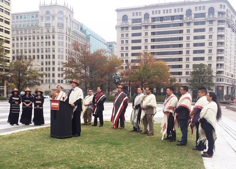 Tulalip Tribes Chairman Mel Sheldon speaks at the rally.