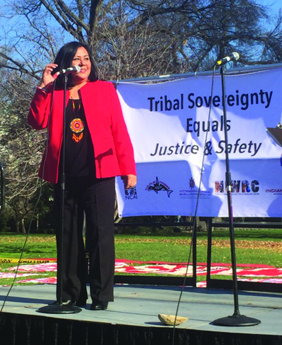 Phylis Anderson Principal Chief of the Mississippi Choctaw was one of numerous speakers fighting for both victims' rights and tribal sovereignty.Photo/Bonnie Juneau