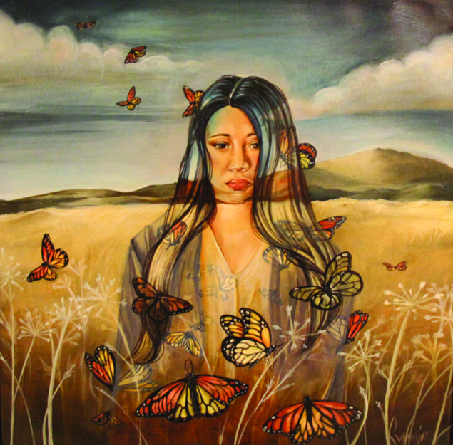 "Missing. Oil on canvas. From the artist, ""I created this piece to honor the lives and memory of unexplained murders and missing Indigenous women of North America. The imagers I chose places a woman amongst a landscape and butterflies. The interaction of the woman and the butterflies has little do with one another in the physical sense; instead, I combine the elements in this painting in an overlapping manner to create cohesion between three violated subjects. The butterflies are a symbol for Indigenous women, which is why they are seen moving through and within the woman. The monarch butterfly has a migratory pattern that spans North America. In recent documentation, the monarch butterfly is also unexplainably dying / missing. In this piece, I wanted to depict the connection between land and women – I see that we are mistreating and killing both. I believe that because there is no respect for the land, there is no respect for women. I believe when one stops, the other will too."""