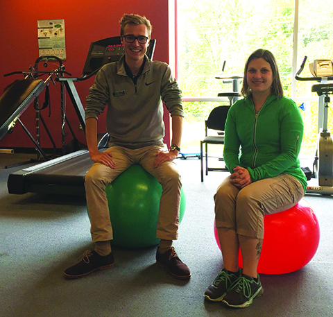 Stephen Coombs, CSCS from Summit Rehabilitation and Kendall McCauley, Athletic Trainer, are the exercise class leaders at the Tulalip health clinic.