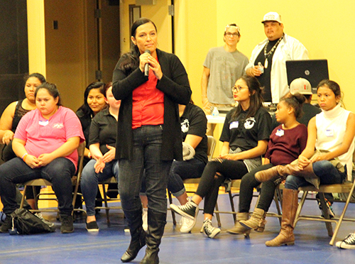 Tulalip tribal member Deborah Parker spoke to the youth about domestic violence, sexual abuse.